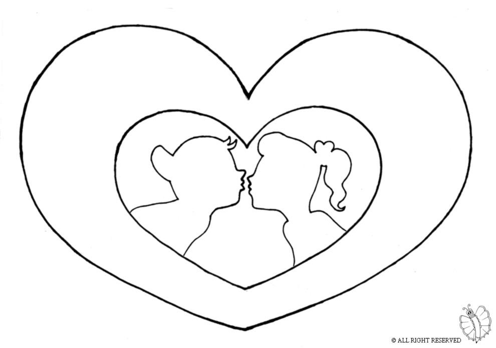 stampa disegno di cuore san valentino da colorare
