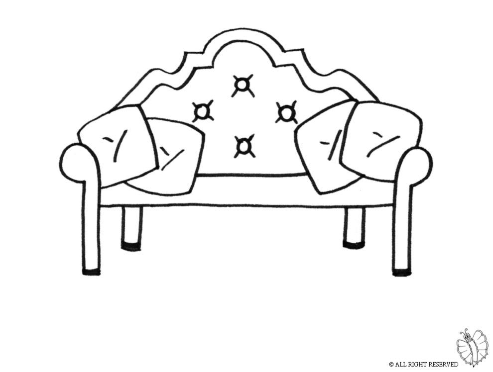 stampa disegno di divano antico da colorare