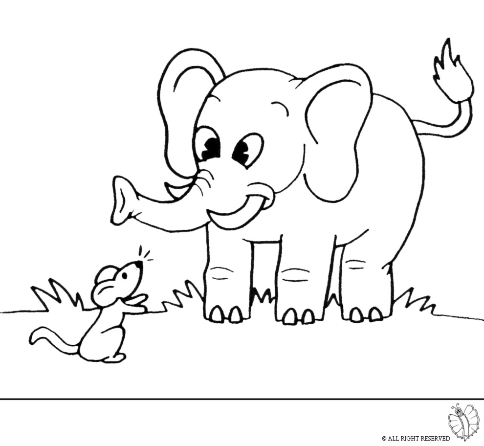 disegno di Elefante e Topolino da colorare