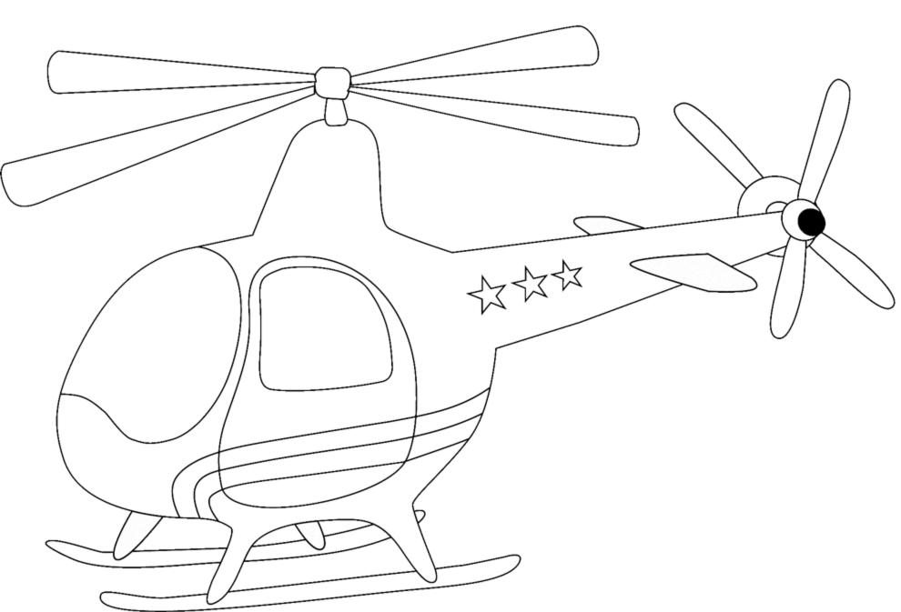 Stampa Disegno Di Piccolo Elicottero Da Colorare