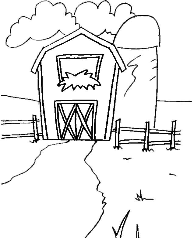 Stampa disegno di il fienile da colorare for Piani di riproduzione della fattoria