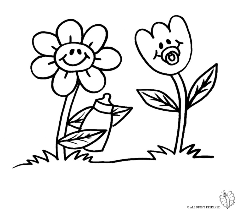 Stampa disegno di fiori animati da colorare for Fiori da colorare e stampare