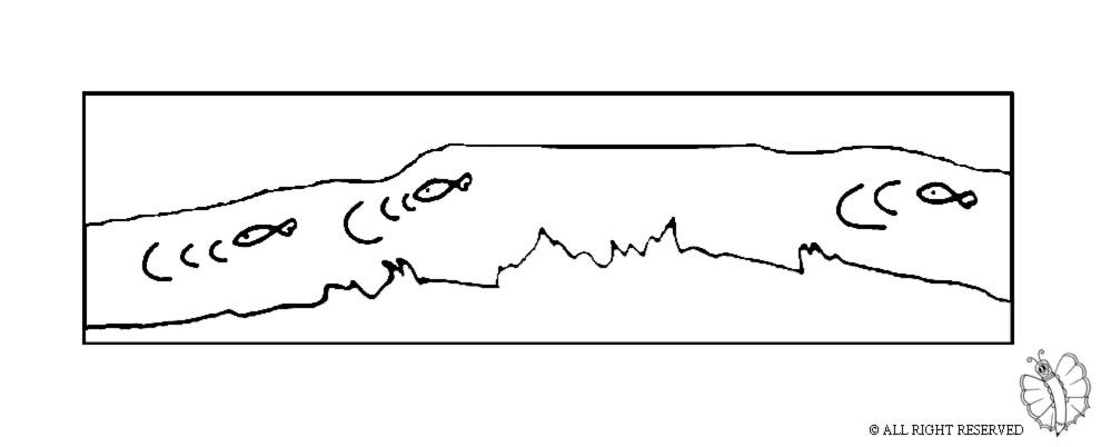 disegno di Fiume con Pesci da colorare
