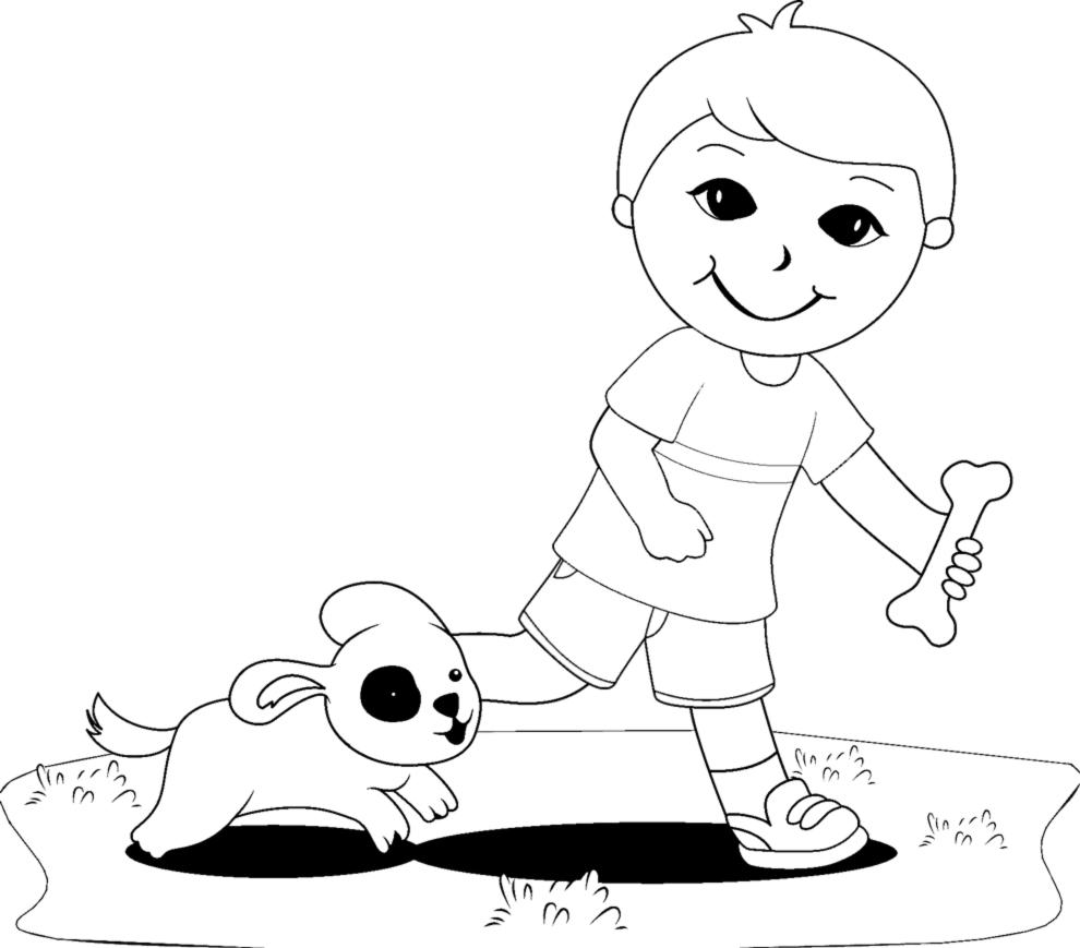 Stampa disegno di giocare con gli animali da colorare for Cane disegno da colorare