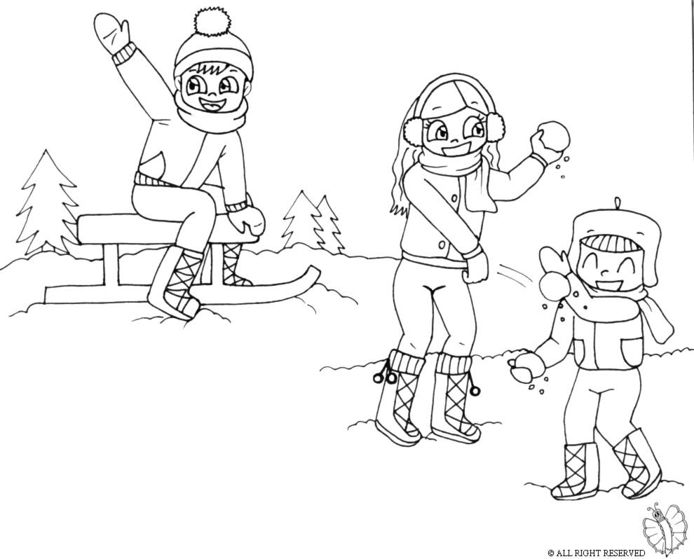 Stampa disegno di giocare con la neve da colorare - Giocare giochi da colorare gratis ...