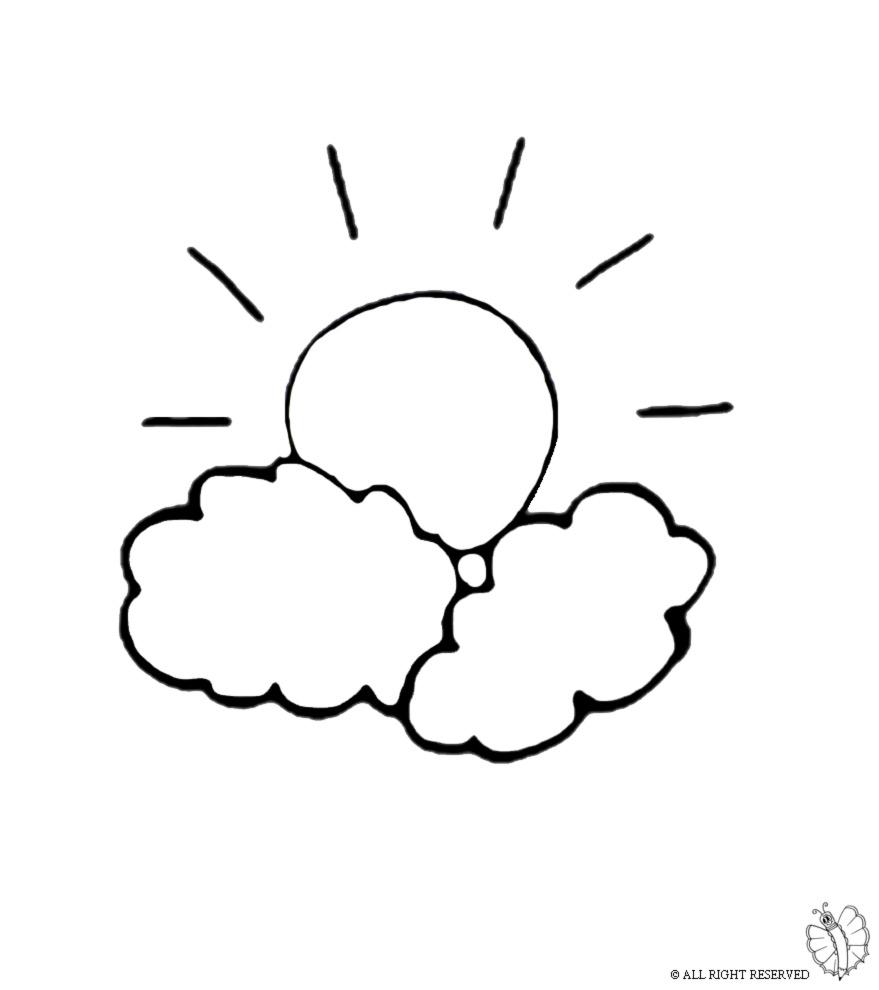 Stampa disegno di il sole e le nuvole da colorare for Immagini sole da colorare