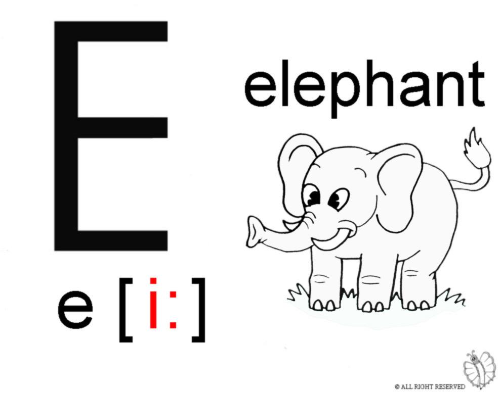 Disegni Da Colorare E Stampare In Inglese.Stampa Disegno Di Lettera E Alfabeto Inglese Da Colorare