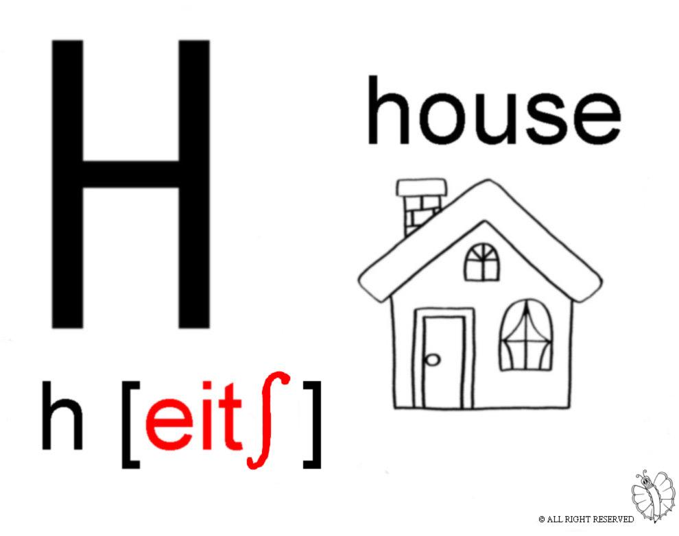 Stampa disegno di lettera h alfabeto inglese da colorare