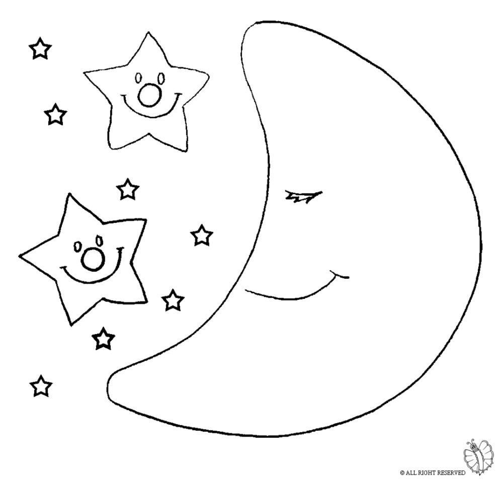 Stampa Disegno Di Luna E Stelle Da Colorare