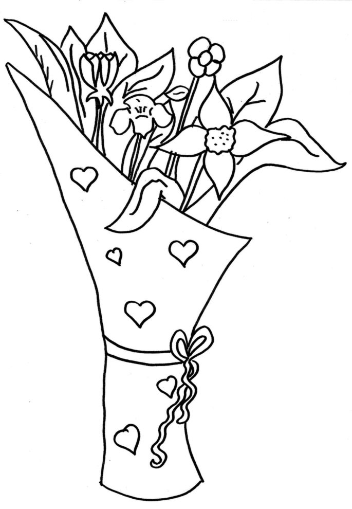 Stampa disegno di mazzo di fiori da colorare for Disegni da stampare e colorare fiori