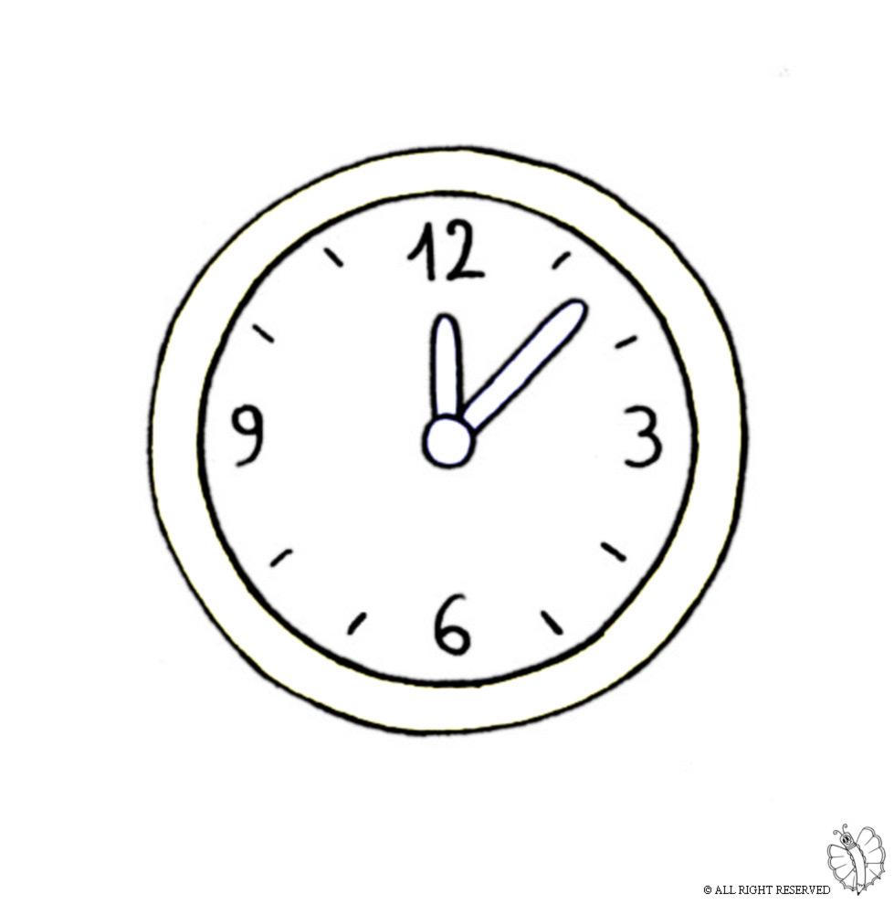 In Alto Disegno Di orologio Da Stampare E Colorare