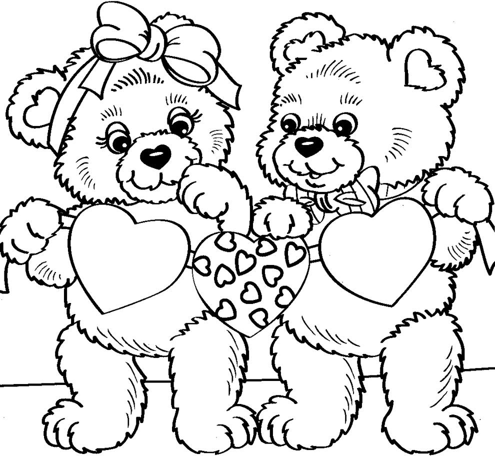Stampa disegno di orsacchiotti con cuori da colorare for Immagini di clown da colorare