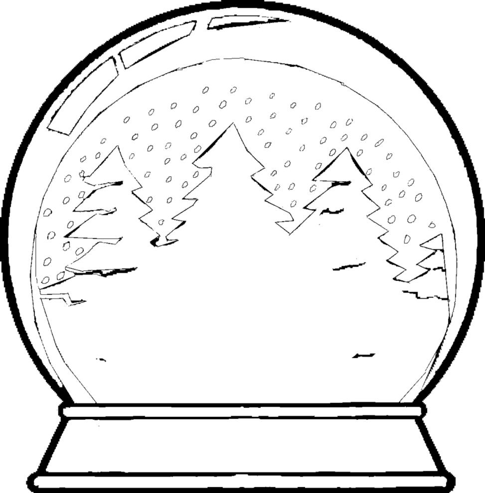 Stampa disegno di palla di vetro con neve da colorare for Immagini da dipingere su vetro