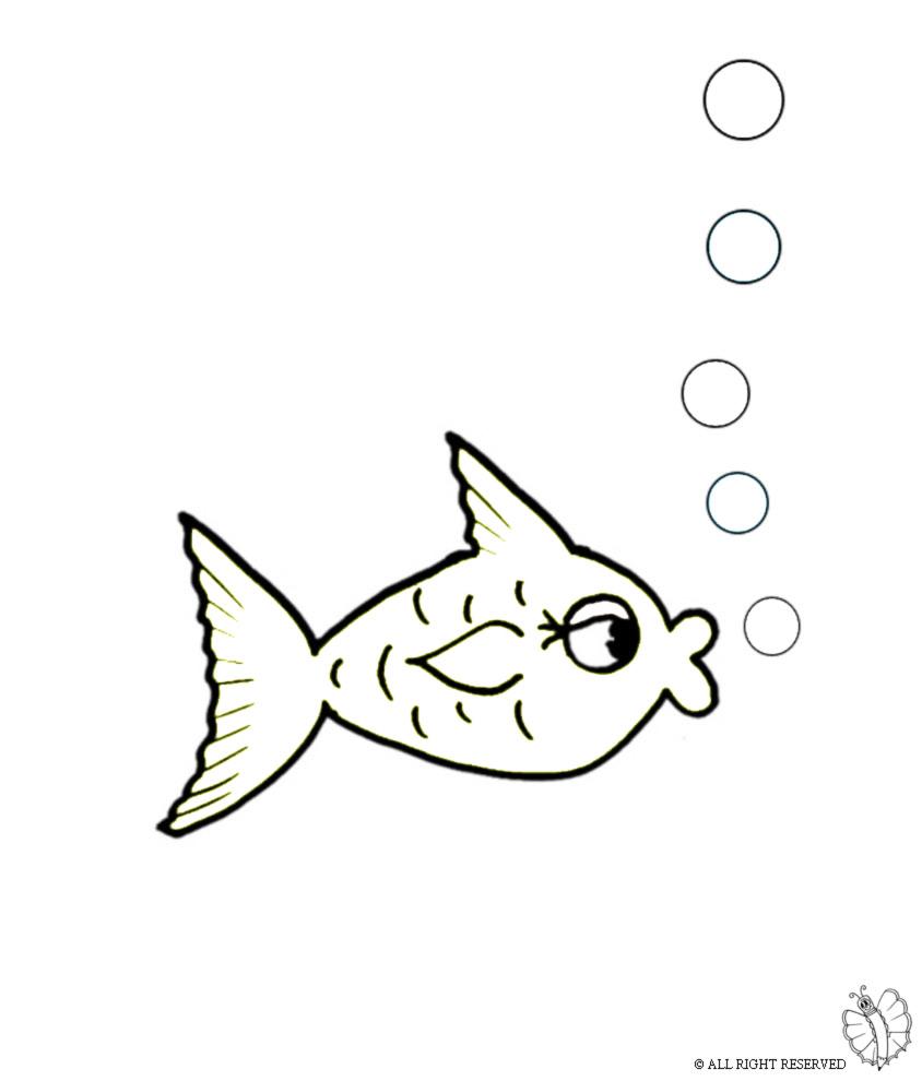 disegno di Pesce e Bollicine da colorare
