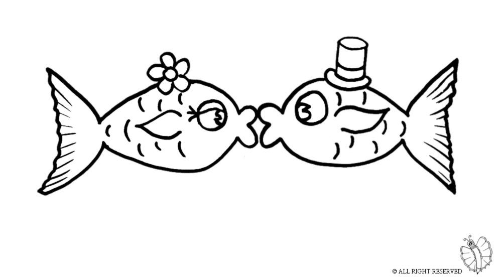 Stampa disegno di pesci innamorati da colorare for Pesciolini da colorare e stampare