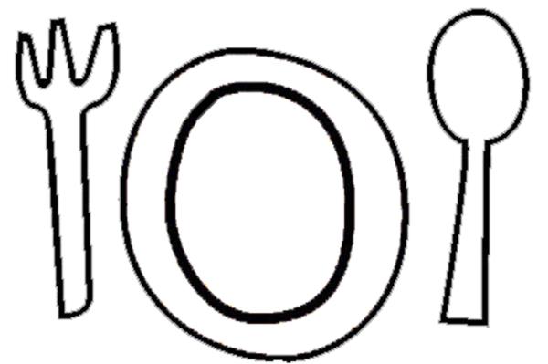 Stampa disegno di Piatto Forchetta Cucchiaio da colorare
