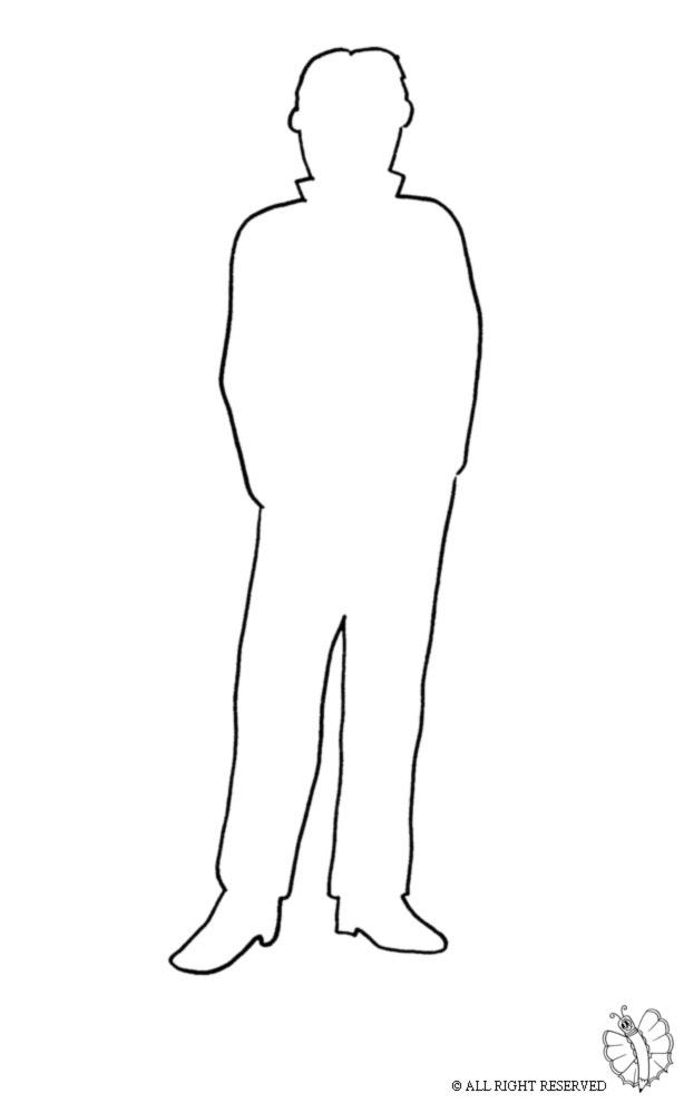 Stampa disegno di sagoma uomo da colorare