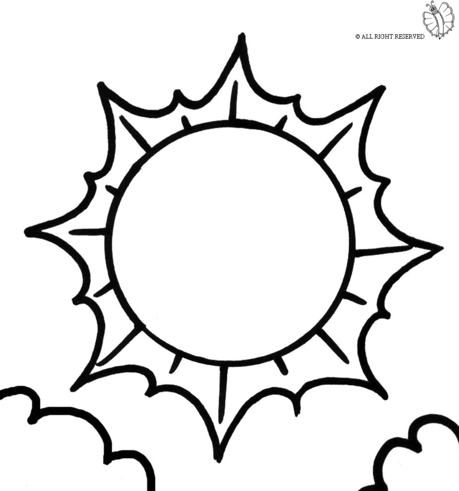 Stampa disegno di sole e nuvole da colorare for Immagini sole da colorare