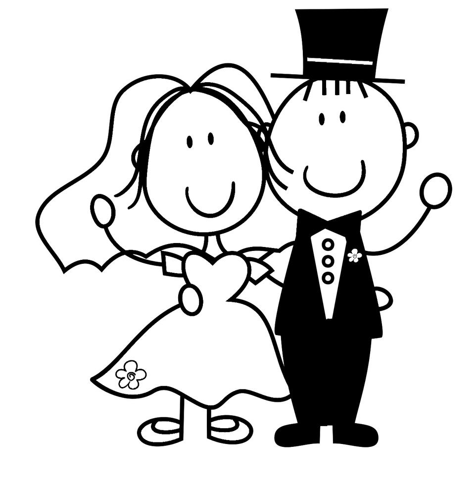 Stampa disegno di Sposi da colorare