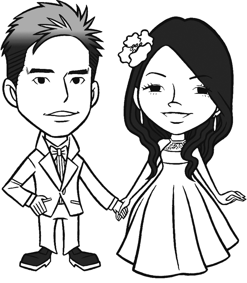 stampa disegno di gli sposi novelli da colorare