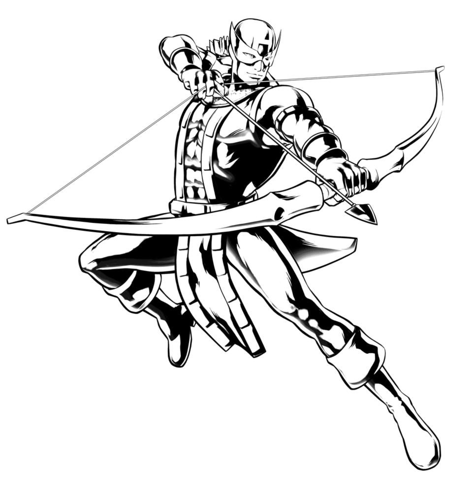 Stampa disegno di hawkeye the avengers da colorare for Flash da colorare