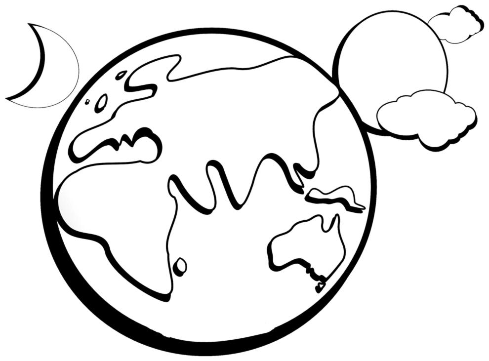 disegno di Terra Sole Nuvole e Luna da colorare