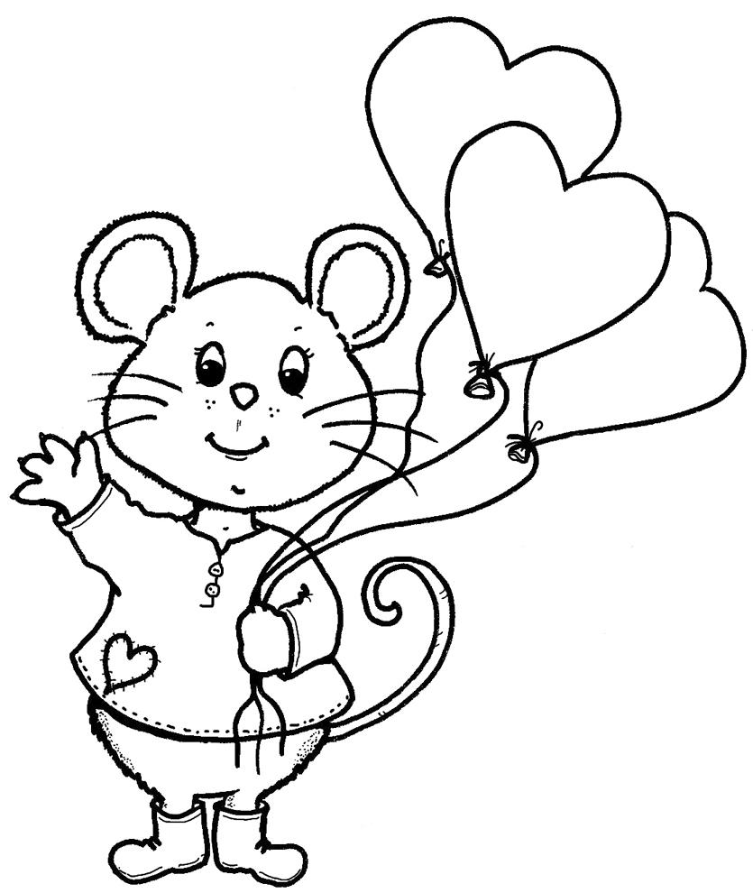 Stampa disegno di topo san valentino da colorare for Disegni di cuori da stampare gratis