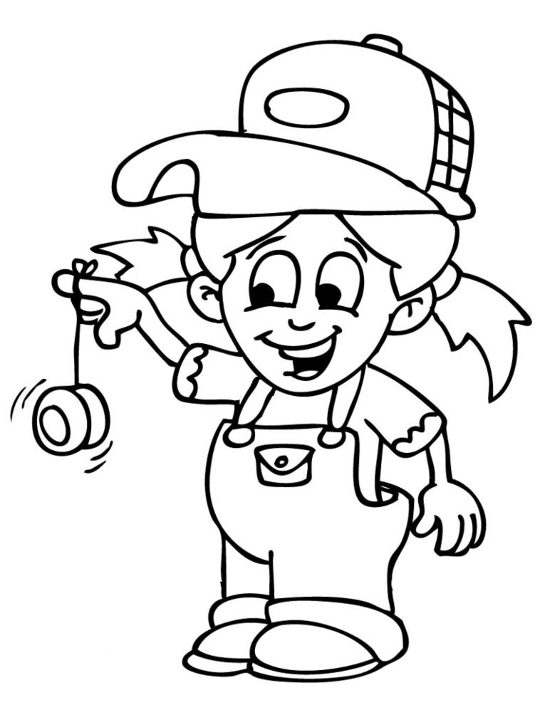 Stampa Disegno Di Bambina Con Yo Yo Da Colorare