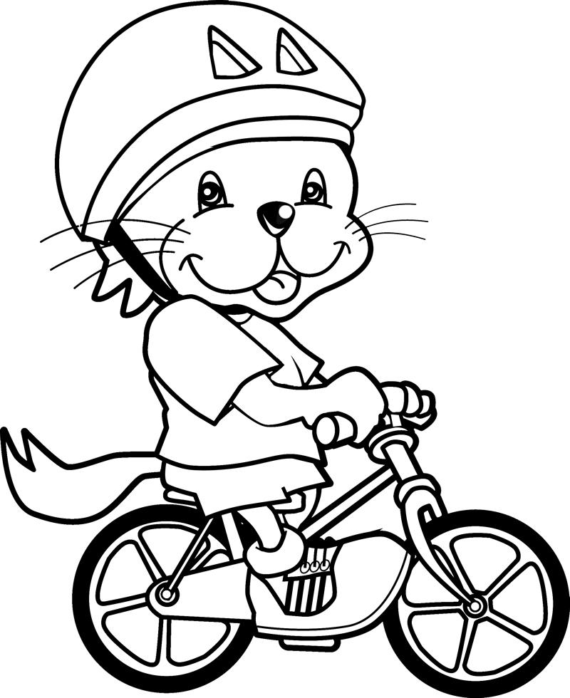 Stampa disegno di leoncino in bici da colorare for Disegno gatto facile