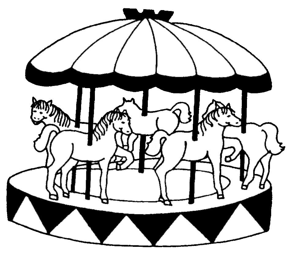 Stampa disegno di giostra con cavalli da colorare for Disegni da colorare dei cavalli