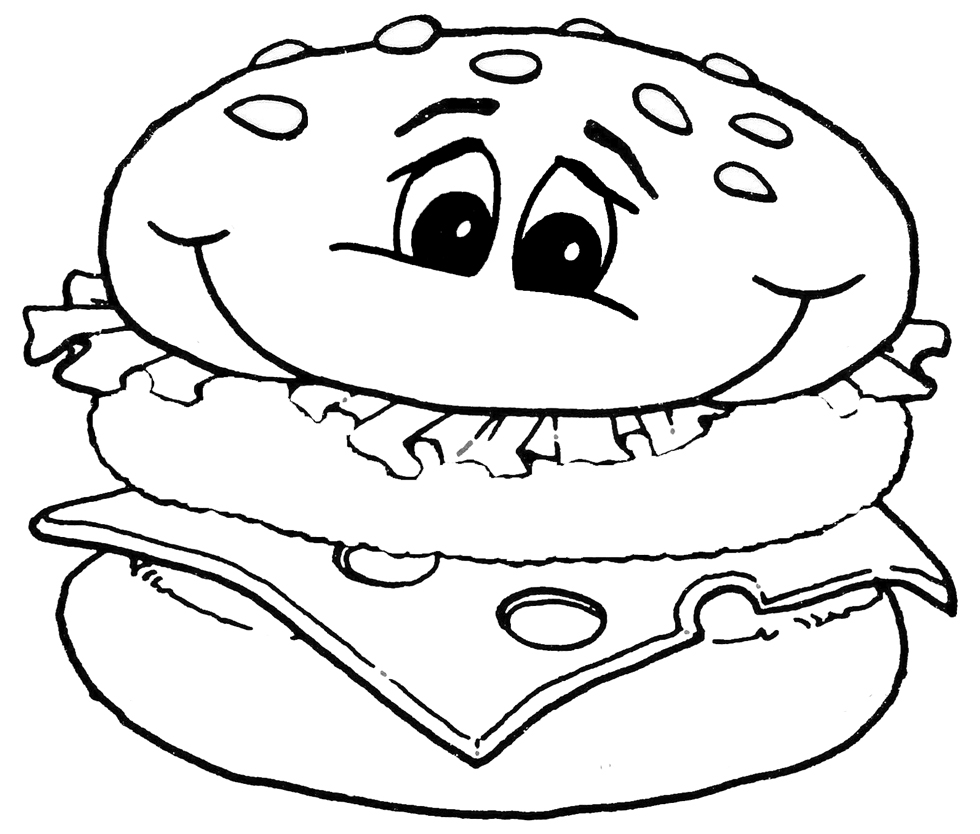 Stampa disegno di panino da colorare