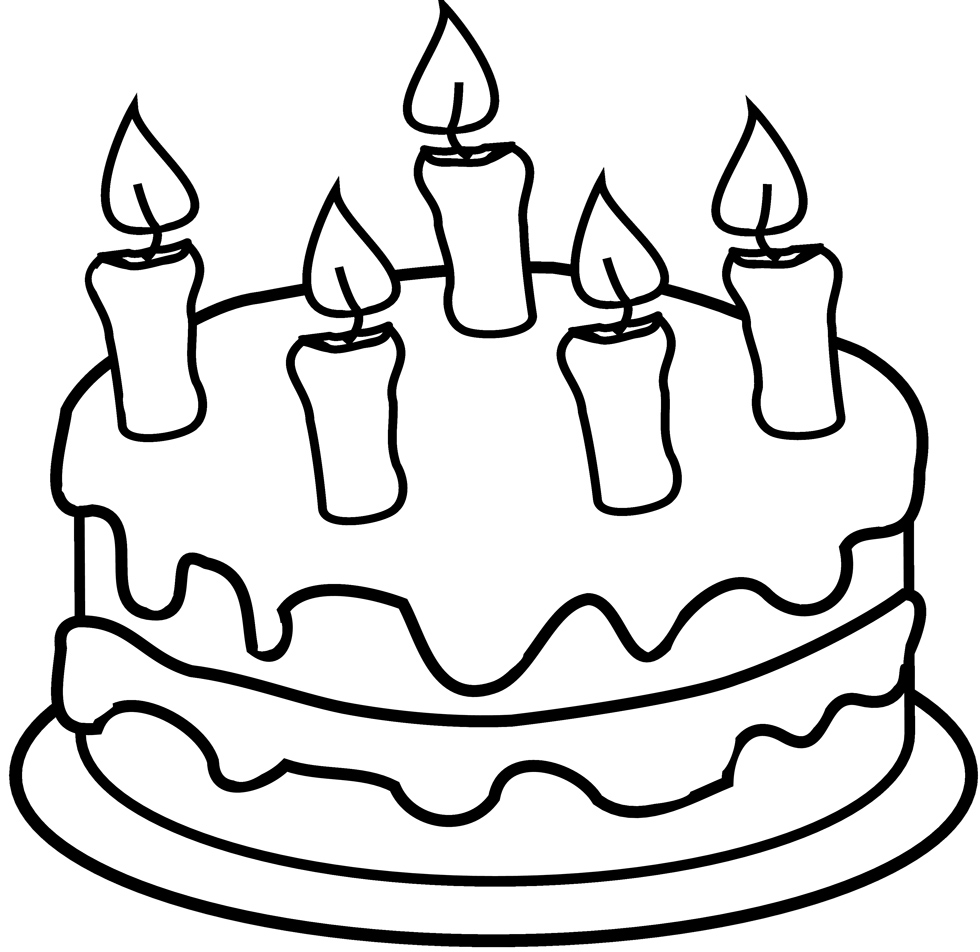 disegno di Torta con Candeline da colorare