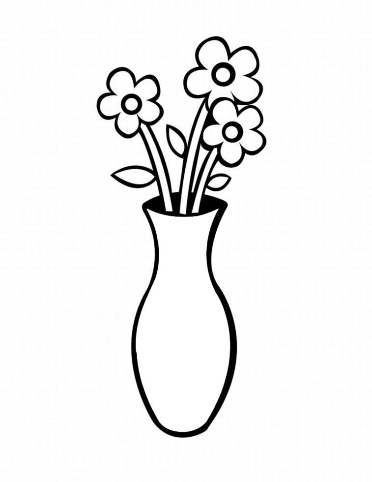 Stampa disegno di vaso con fiori da colorare for Disegno vaso da colorare
