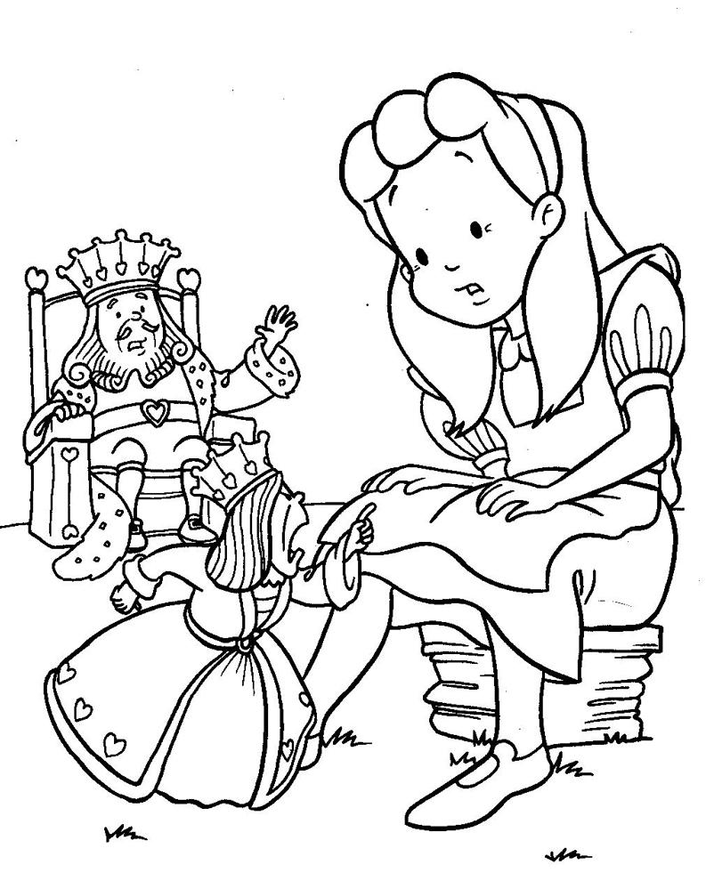 Stampa disegno di alice con il re e la regina da colorare for Disegni da colorare con cuori