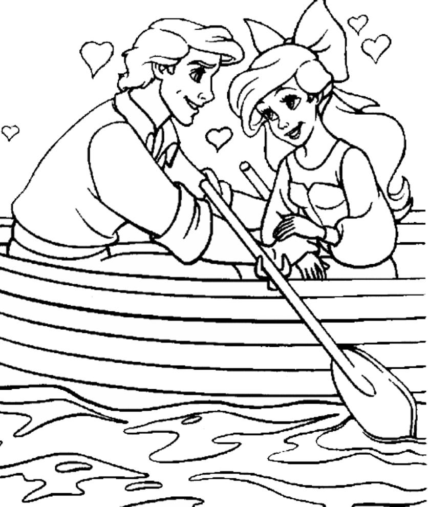 Stampa disegno di ariel e eric innamorati da colorare for Disegnare la planimetria online gratuitamente