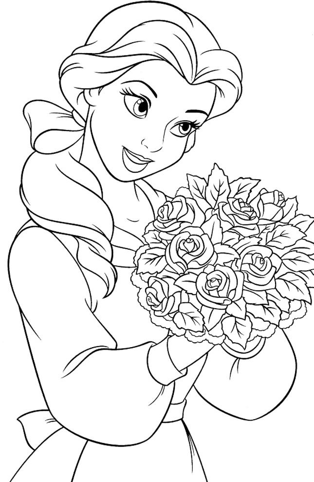 stampa disegno di belle con fiori da colorare