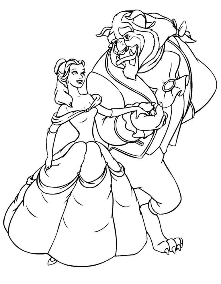 Stampa disegno di la bella e la bestia ballo da colorare for La bella e la bestia immagini da stampare