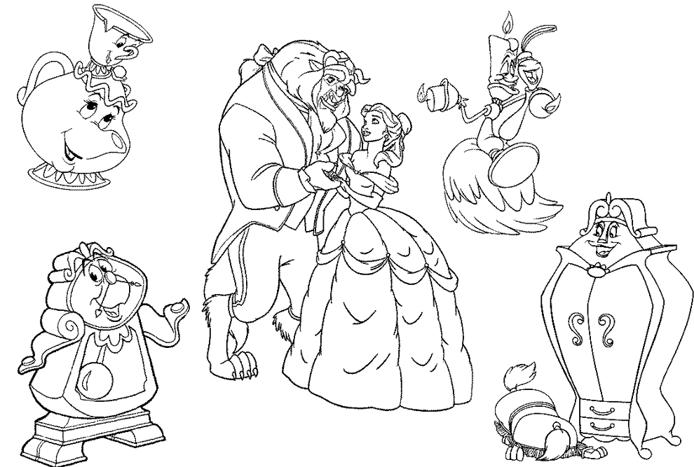 Stampa disegno di i personaggi de la bella e la bestia da for Beauty and the beast coloring pages disney