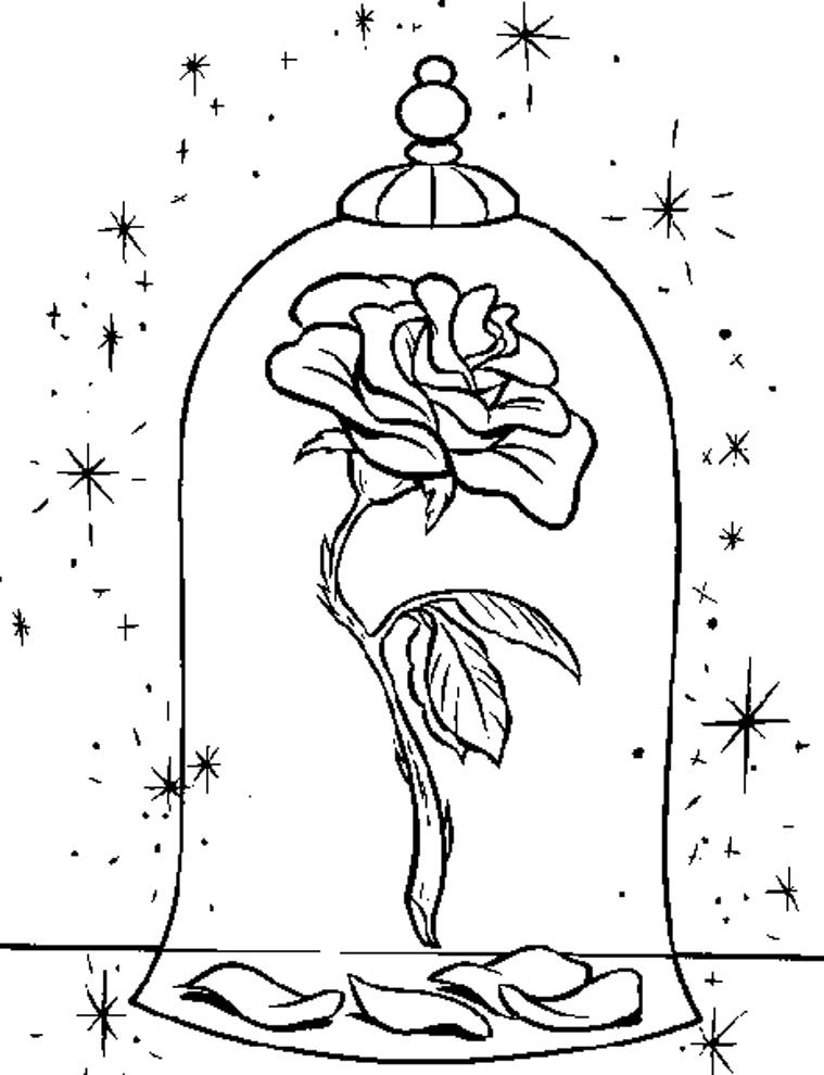 Stampa Disegno Di La Rosa Della Bella E La Bestia Da Colorare