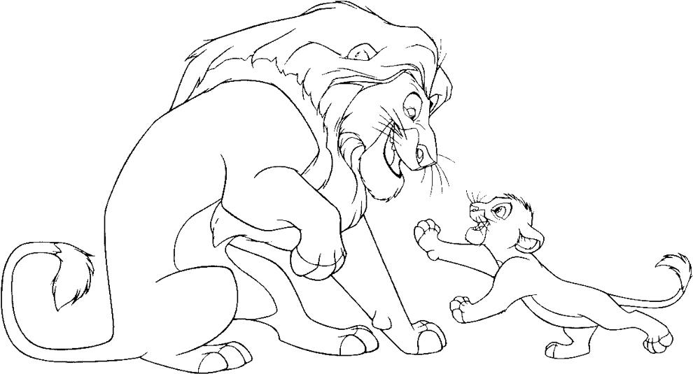 disegno di Mufasa e Simba Il Re Leone da colorare