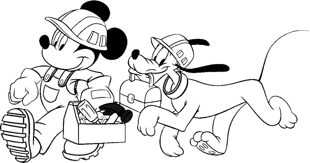 Stampa disegno di topolino e pluto al lavoro da colorare