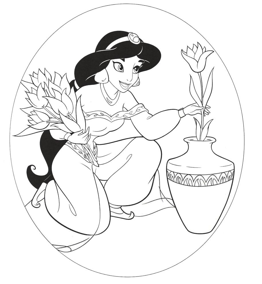 principessa jasmine aladdin da colorare