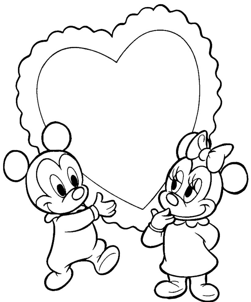 Stampa disegno di topolino e minnie baby cuore da colorare for Costruzione di disegni online
