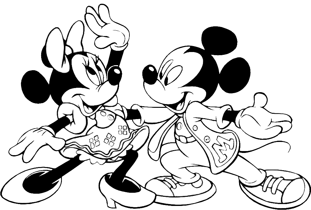 Stampa disegno di topolino e minnie ballerini da colorare for Disegni di minnie da colorare