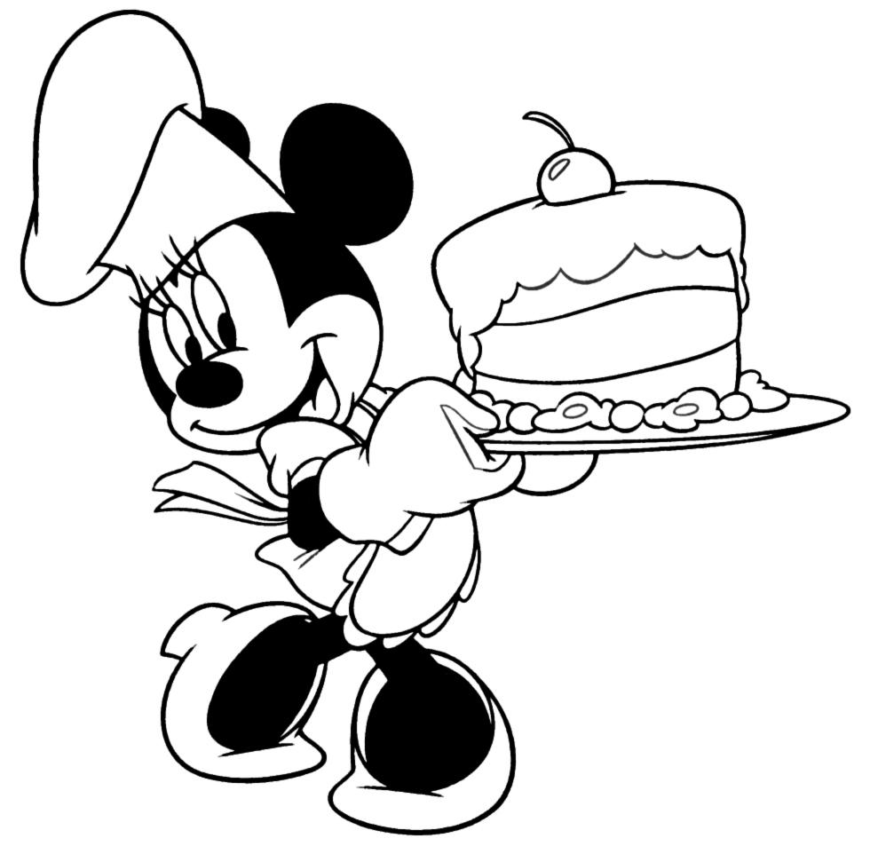 disegno di Minnie con Torta da colorare