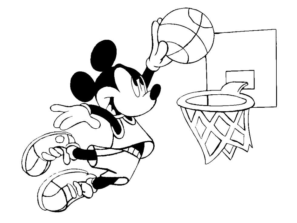 Stampa disegno di topolino e il basket da colorare for Disegni disney facili da disegnare