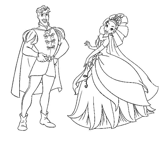 disegno di Principessa Tiana e il Principe da colorare