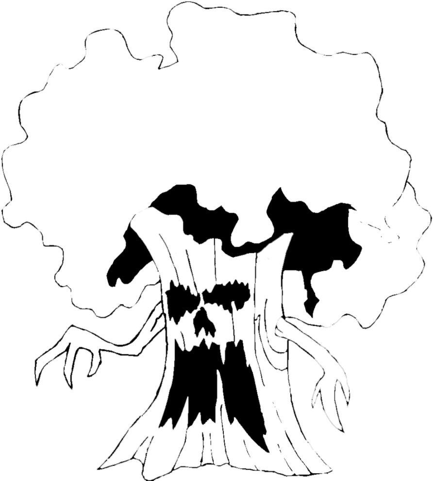 Stampa disegno di albero stregato da colorare - Come disegnare immagini di halloween ...