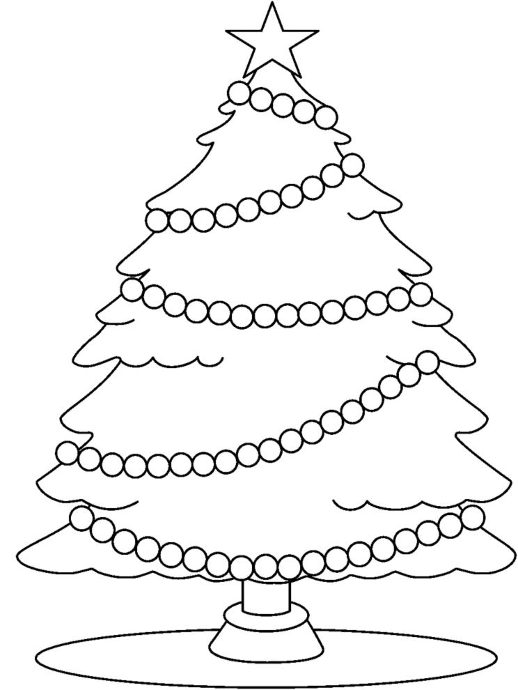 Stampa Disegno Di Albero Con Stella Di Natale Da Colorare