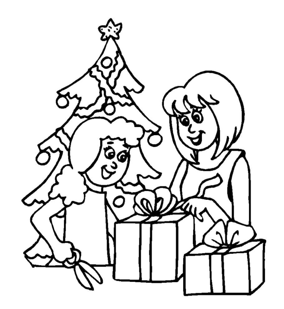 Stampa disegno di albero con regali di natale da colorare for Regali on line per natale